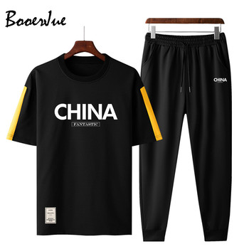 2020 New T Shirt + Pants Sets Men Patchwork Pocket Summer Suits Casual Tshirt Men Tracksuits Brand Clothing Tops Tees Set Male tanie i dobre opinie BOOERJUE O-neck Elastyczny pas NONE Poliester Krótki Na co dzień Tracksuit Men Shorts Sportsuit Set Tops Tees+Shorts Sports