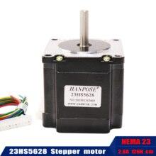 Frete grátis nema23 motor de passo 4 lead 165 oz em 23hs5628 56mm 2.8a 57 series motor para impressora 3d monitor equipamentos