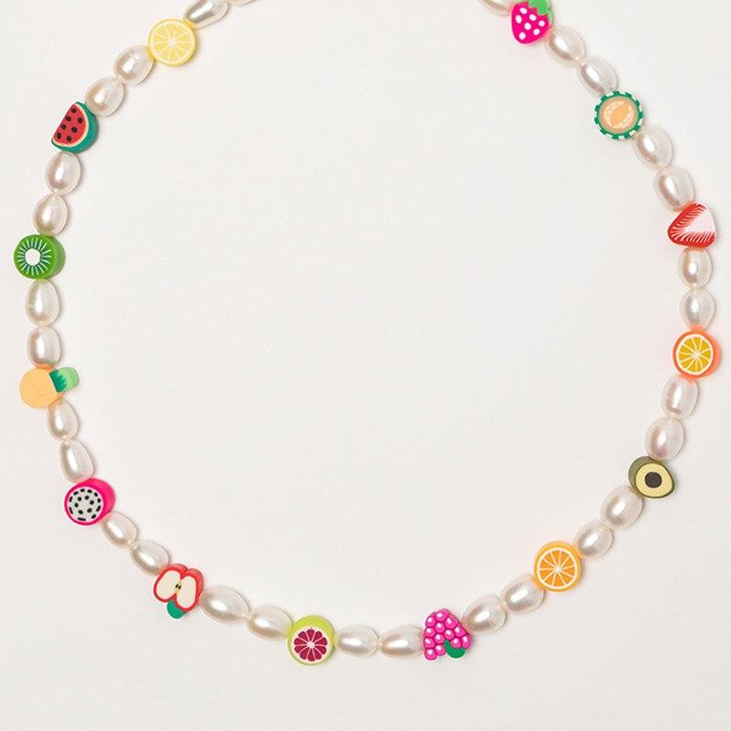 2020 летнее милое ожерелье с бусинами и фруктами ручной работы, роскошное ювелирное изделие из пресноводного жемчуга, изысканные трендовые а...
