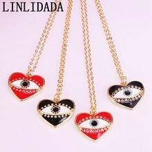 12Pcs Gold Filled Metal Enamel Heart Women Charm Pendant Fashion Link Chain Jewelry Necklaces