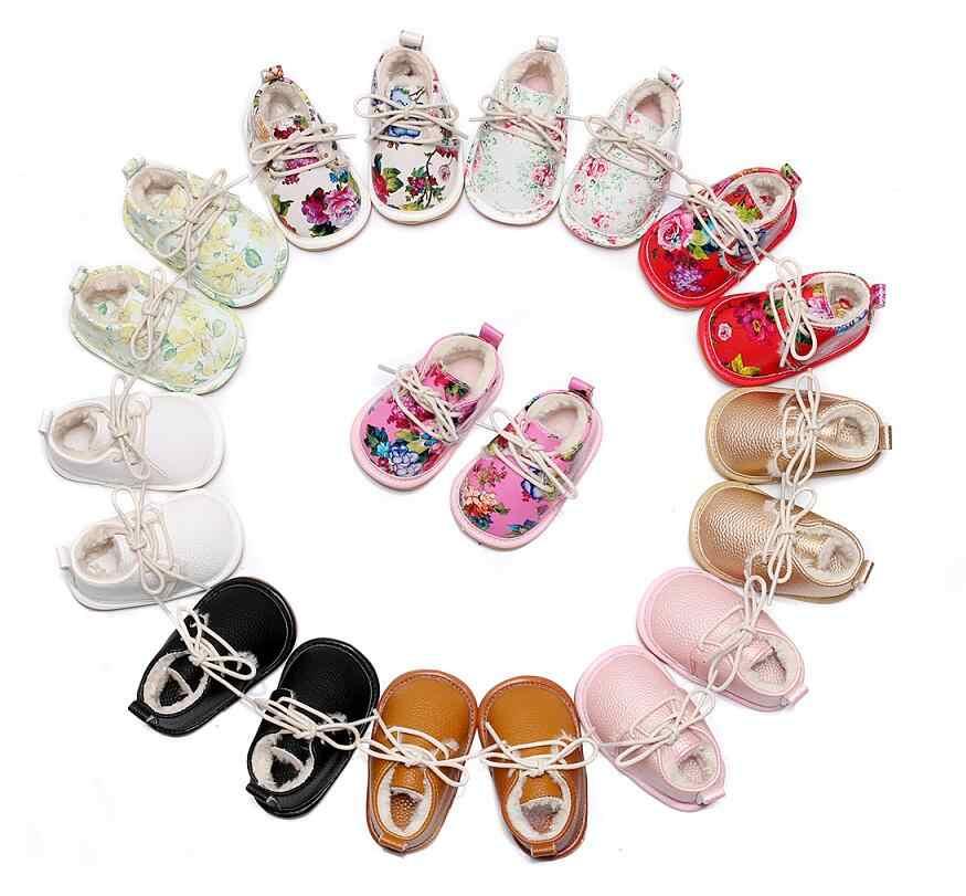 Sıcak satış süper sıcak PU deri kürk kış bebek ayakkabıları lace up çiçek baskı bebek moccasins toddler kız erkek kar botları
