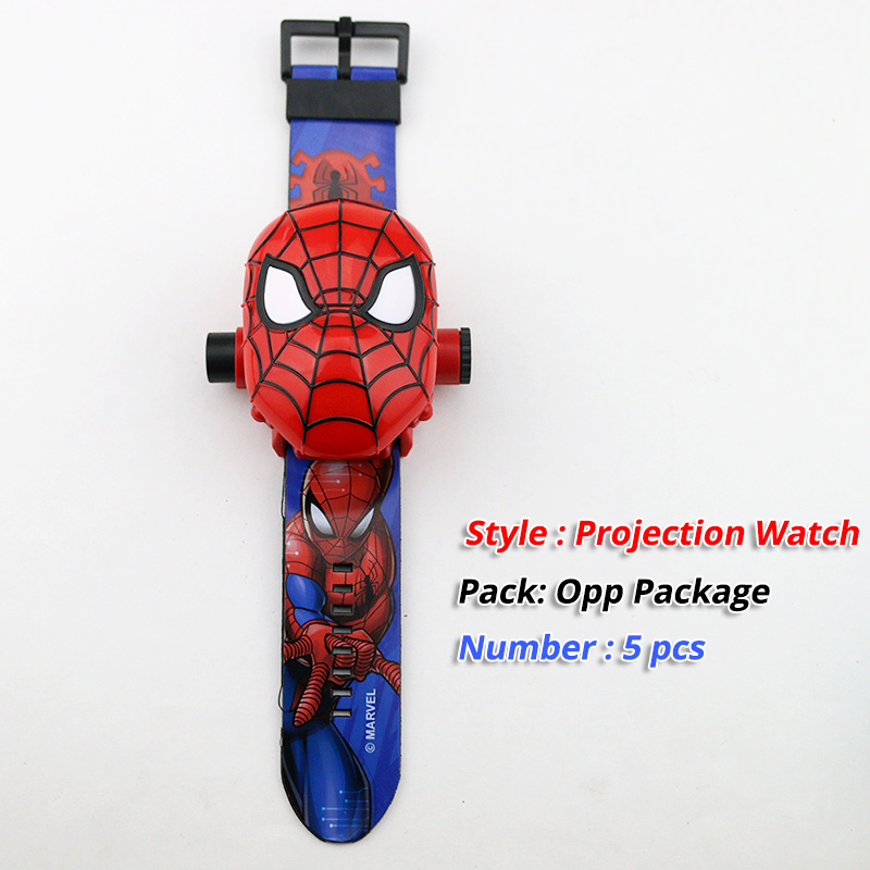 5 Pcs 3D Projection Spiderman Children Watches Kids Cartoon Pattern Girls Watch Child Boys Digital Wristwatch Relogio Masculino