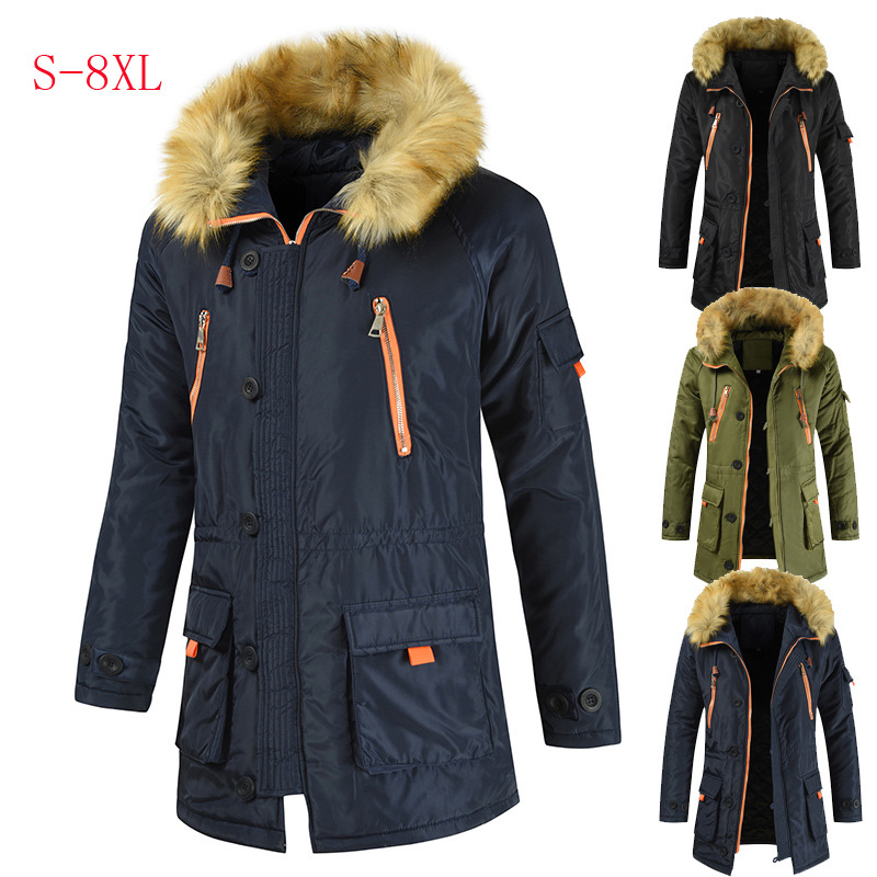 2019 mi-long coton manteau hommes épais chaud manteau Ultra grand col de fourrure vêtements rembourrés de coton Couples coton rembourré veste manteau
