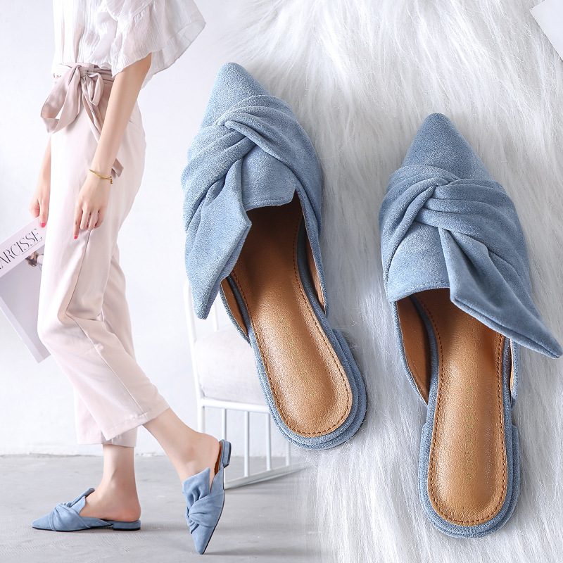 Women Elegant Slippers Flock Bow-knot Female Mules Fashion Low Heel Pointed Toe Ladies Office Shoes Flat Woman Shoe Slipper