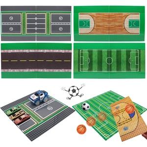 2PCS Classic City Road BasePlates Mini Size Assemble Bricks Basketball Court Football Carpark Baseplates Building Blocks Toys