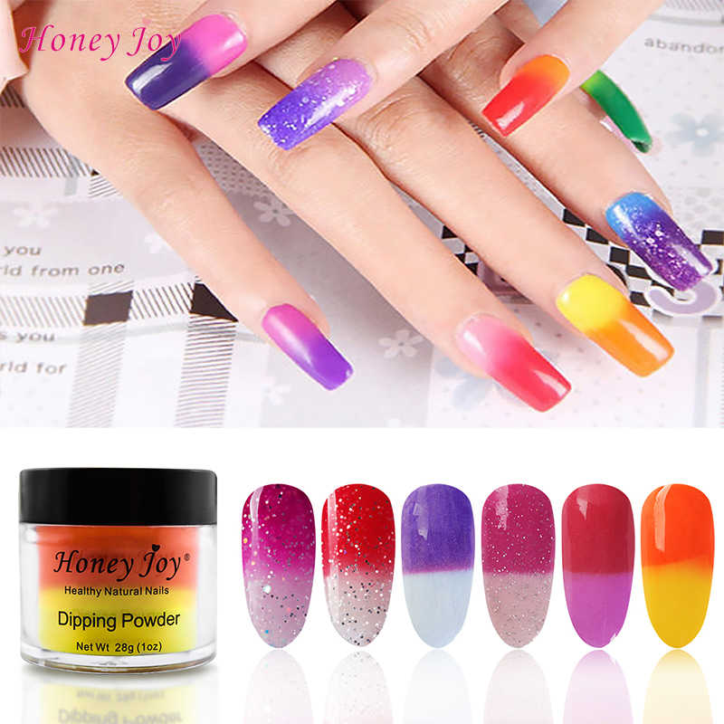 28g/Box Temperature Color Change Shine Glitter Dip Powder Nails Dipping Nails Long-lasting Nails No UV Light Needed (#1-#6)