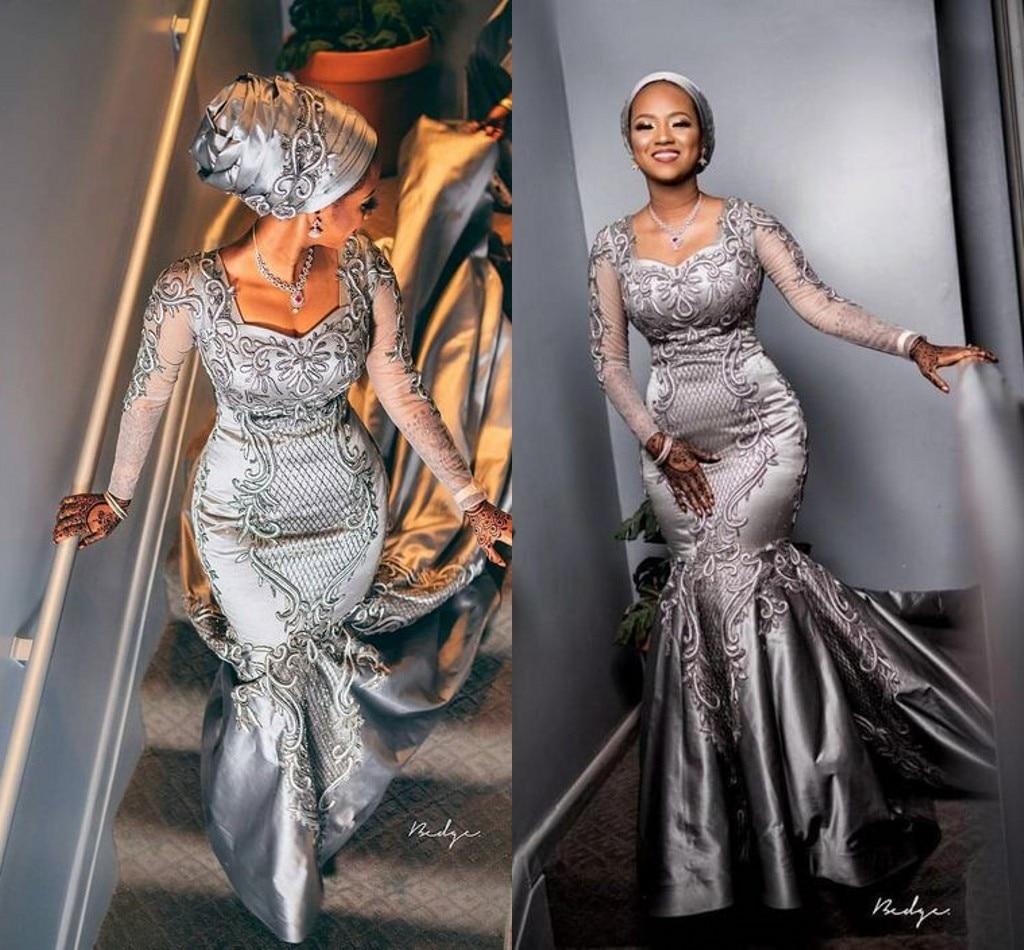 Silver Luxury Mermaid Wedding Dresses 2020 Modern African Nigerian