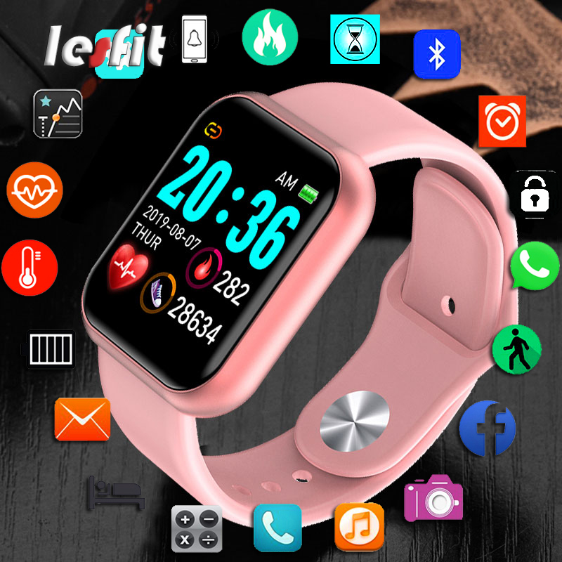 Lesfit Y68 Bluetooth Women Sport Smartwatch Men Waterproof Smart Watch Heart Rate Monitor Smart Android Relogio Fitness Tracker