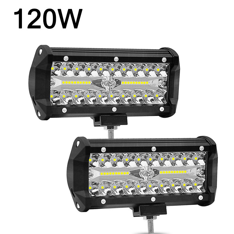 2pcs 120W 7 Inch Combo Led Light Bars Spot Flood Beam For Work Driving Offroad Boat Car Tractor Truck 4x4 SUV ATV 12V 24V