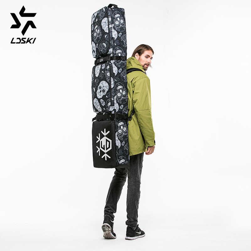 LDSKI kayak çantası Snowboard omuzdan askili çanta kask çizme kış spor çantası DWR malzeme büyük sırt çantası çanta yastıklı hafif çanta