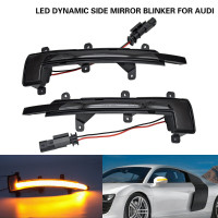 2PCS Amber LED Dynamic Side Mirror Light Turn Signal Light For Audi TT TTS TTRS Coupe Cabrio 2006 2014,R8 2007 2016,Smoked lens