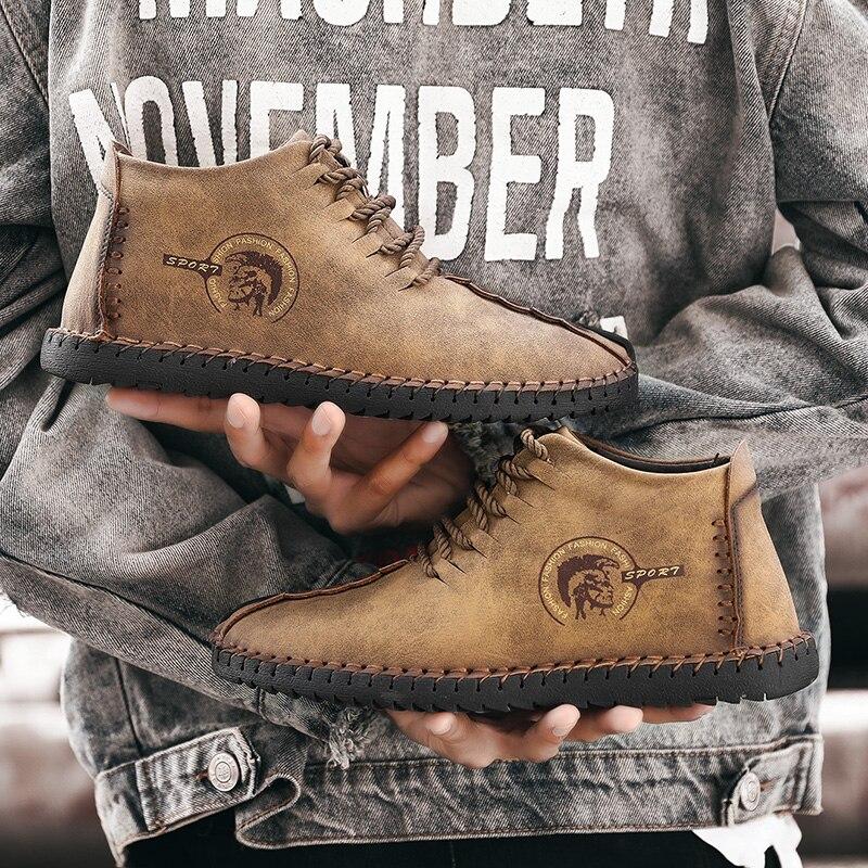 Winter Men Shoes Warm Fur Snow Boots Plus Size 38-48 Plush Ankle Boots Khaki PU Leather Men Shoes Non-slip Botas Hombre