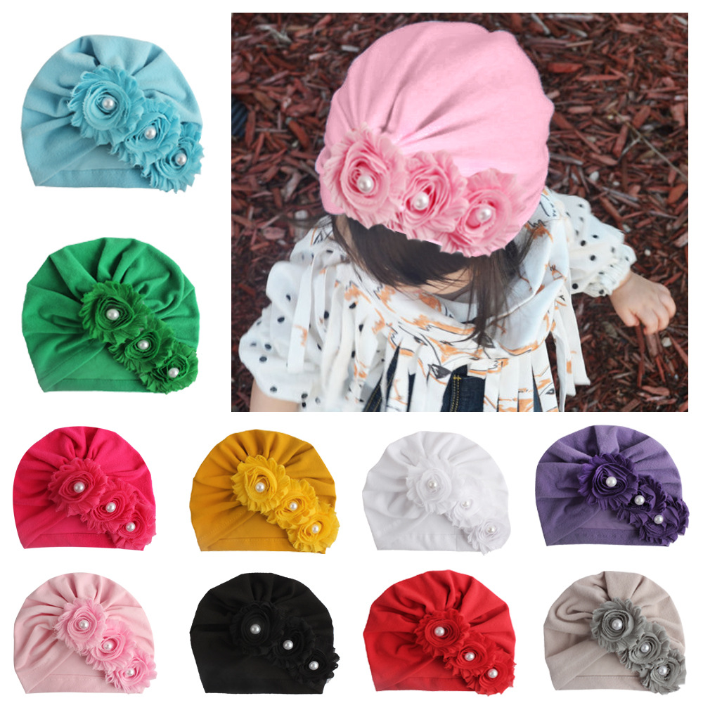 Nishine Infant Newborn Caps With Pearl Chiffon Flowers Cotton Blend Kont Turban Girls Stretchy Beanie Hat Baby Hair Accessories