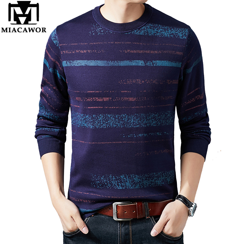 MIACAWOR New Men Sweater Thick Warm Pullover Men O-neck Knitted Jersey Hombre Slim Fit Jumpers Men Striped Pull Homme Y239