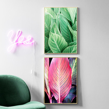 Red Banana Leaf Green Wall Art Canvas Painting Plants Nordic Posters And Prints Pictures For Living Room Decor