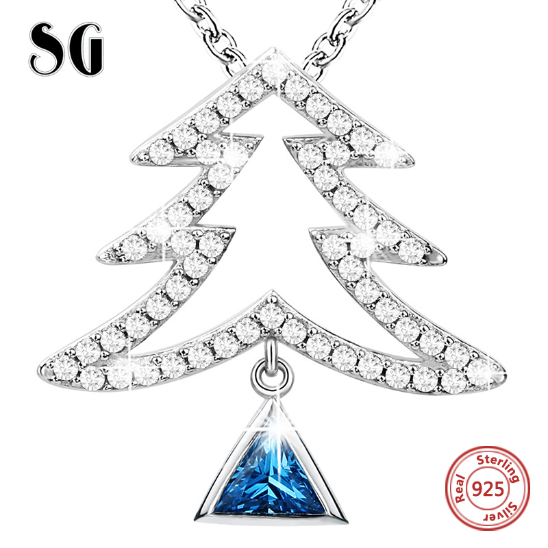 SG blue crystal necklace with plant Christmas tree pendant necklace 925 sterling silver Zircon necklaces for women gifts in Pendant Necklaces from Jewelry Accessories