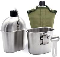 Edelstahl Military Kantine Tasse Tragbare Kantine Tasse Mit Deckel Grün Abdeckung Camping Wandern Picknick Reise Zubehör