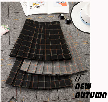 2020 New Women's High Waist Pleated Skirt Autumn and Winter Woolen Skirt Elastic Waist A- line Dress Korean Style Mini Skirt 2019 korean version of the new skirt female was thin spring rivet high waist elastic waist black pleated skirt s xxl mini skirt