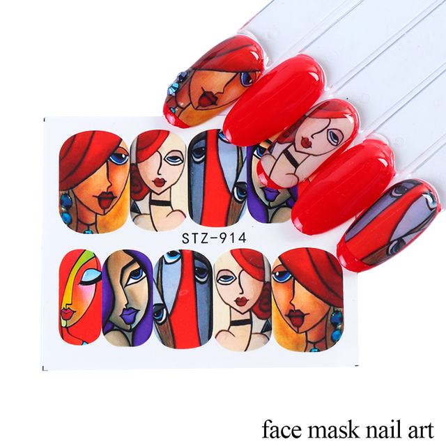 16pcs Nail Stickers Set Girl Face Painting Line Designs Nail Art Decals Sliders Transfer Foil Decoration Manicure TRSTZ906-921-1