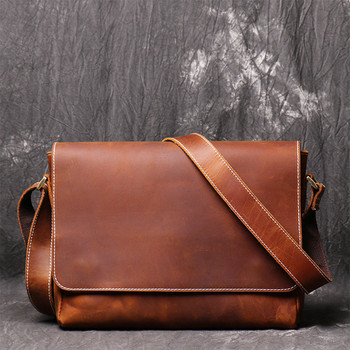 цена на High Quality Vintage Brown A4 Ipad Genuine Crazy Horse Leather Men Office Briefcase Business Messenger Crossbody Shoulder Bags