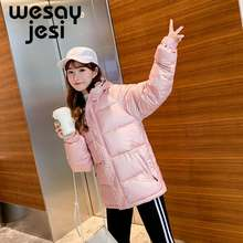 Women parkas coat 2019 fashion Glossy Sequined style thick warm hooded short jacket coat for female outwear(China)