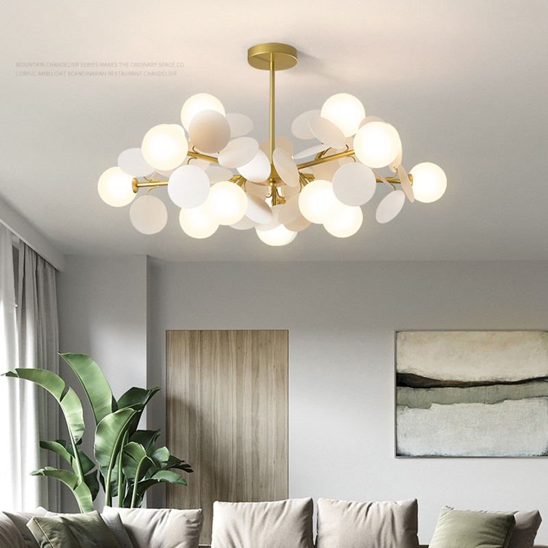 salon lustre nordique eclairage design personnalite creative restaurant lampe villa duplex lustres eclairage a la maison