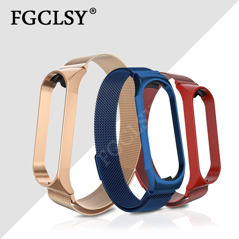 FGCLSY For Xiaomi Mi Band 4 3 Strap Magnet Metal Wrist Watch Strap Mi Band 4 3 Bracelet Accessories Stainless Steel Wrist Strap