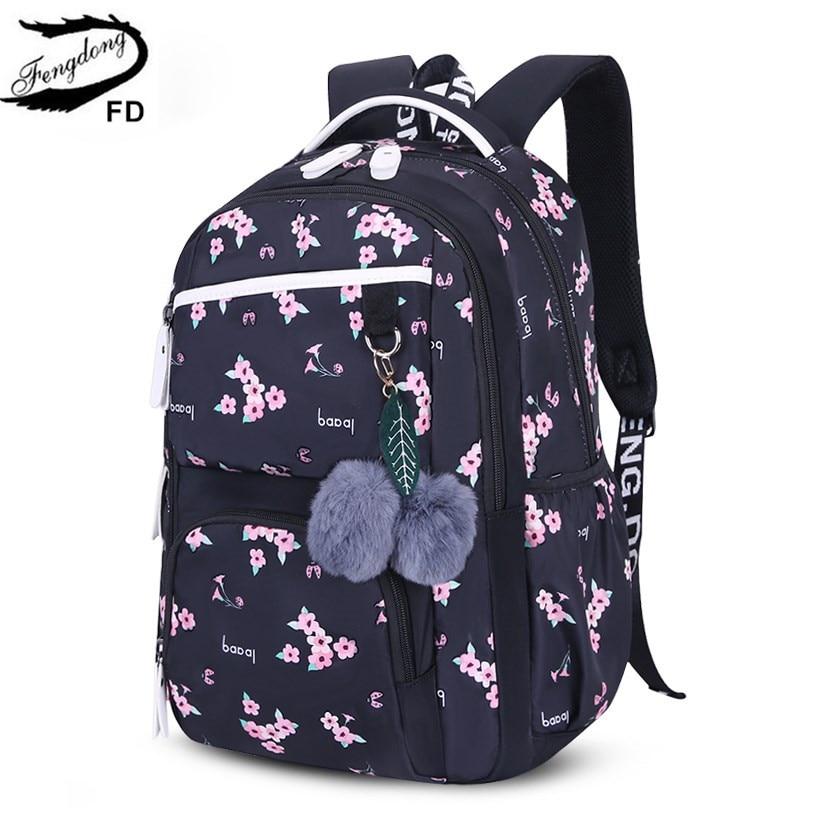 FengDong Cute School Bags For Teenage Girls Korean Style School Backpack For Girls Fur Ball Decoration Children Bag Girl Gift
