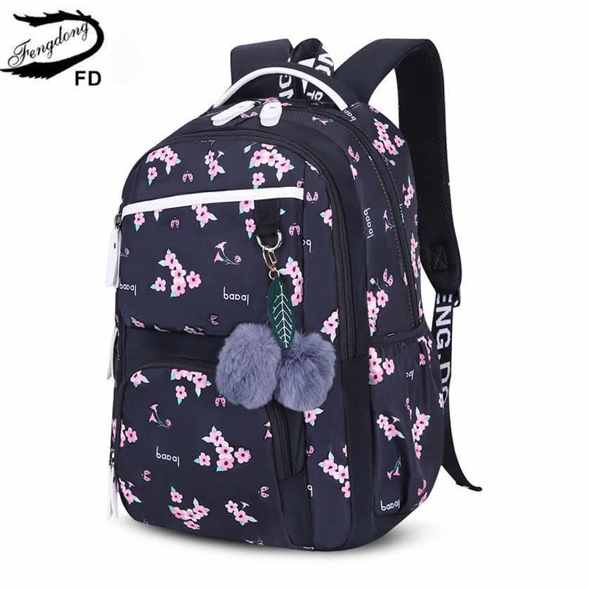 FengDong śliczne szkolne torby dla nastoletnich dziewcząt koreański styl szkolny plecak dla dziewczynek futrzane kule dekoracyjne torba dziecięca dziewczyna prezent