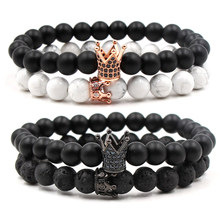 2020 Jewelry for Men Women Couples Beaded Bracelets Natural Stone DIY Micro Zirconia King Crown Shaped Charms Bracelet Set Gift