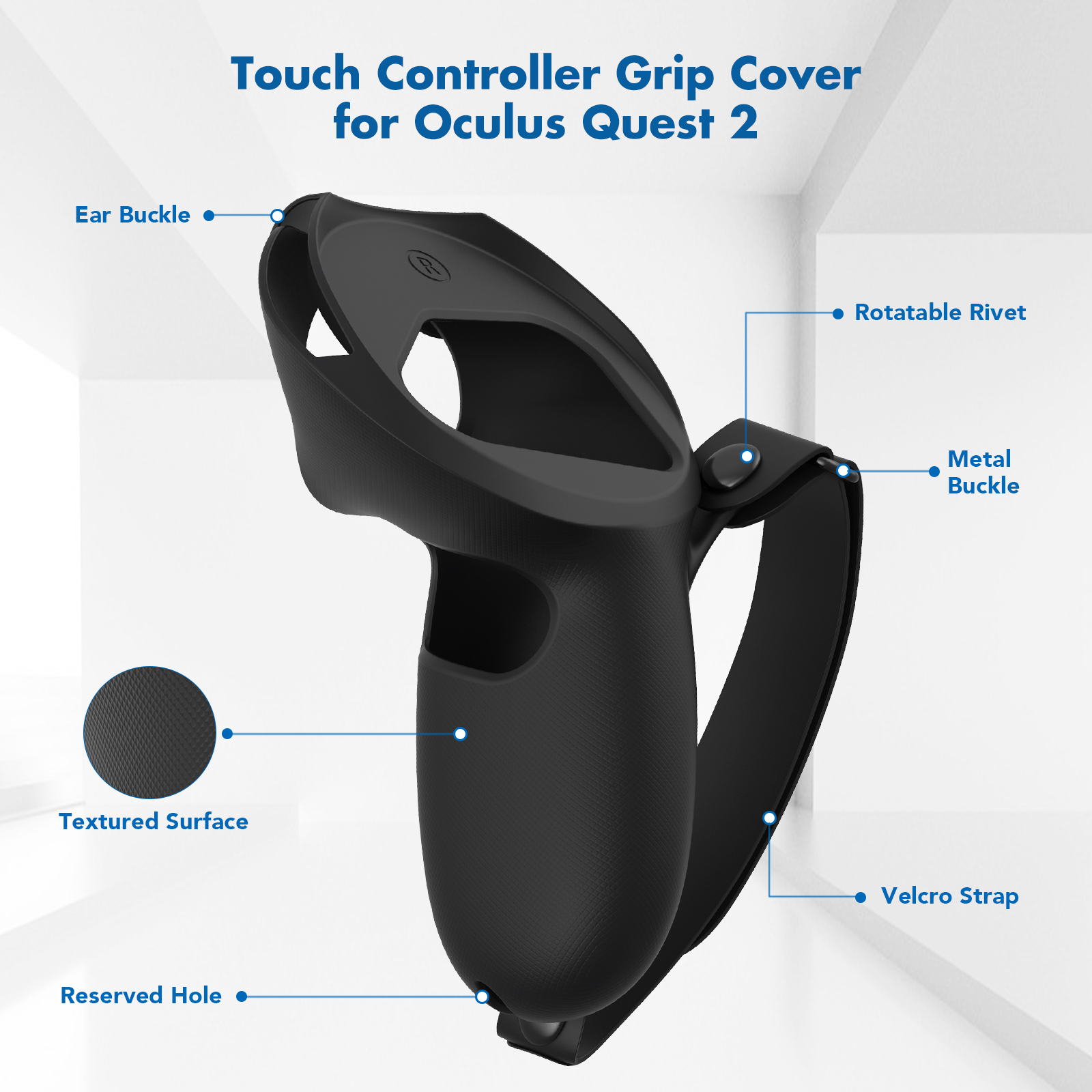KIWI design Grip Cover For Oculus Quest 2 Touch Controller Grip Accessories Anti-Throw Handle Sleeve With Adjustable Hand Strap