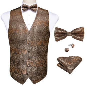 New Teal Green Paisley 100% Silk Formal Dress Vest Men Waistcoat Vest Wedding Party Vest Tie Brooch Pocket Square Set DiBanGu 33