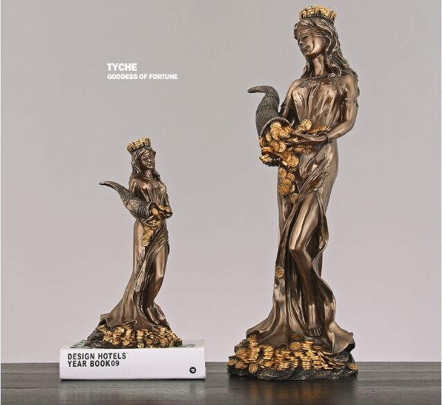Nordic Goddess Of  Fortune Character Tyche Statue Artwork Craft Desktop Sculpture Living Room Home Decoration Ornament A0779