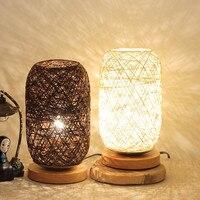 Neue Einzigartige Design Hohe Qualität Holz Rattan Schnur Ball Lichter Tisch Lampe Room Home Kunst Dekoration Schreibtisch Licht Volle Licht schattierung