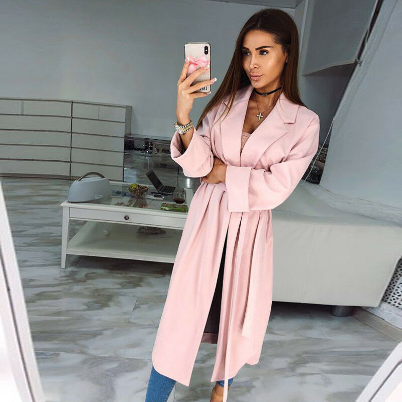 New Women Ladies Long Sleeve Belted Cardigan Trench Long Coat Duster Jacket Tops in Trench from Women 39 s Clothing