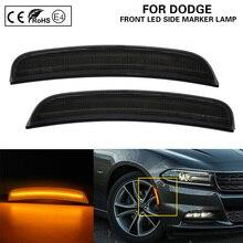 цена на For Dodge Charger 2015-LED Front Side Marker Light lamp Smoke lens Amber US version 2X