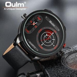 Image 5 - Oulm Модные Стильные мужские часы большого размера со светодиодом, роскошные Брендовые мужские кварцевые часы с двумя часовыми поясами, мужские кожаные Наручные часы