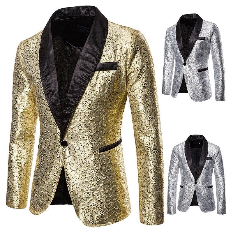 Autumn And Winter New Style Performance Formal Dress Bronze Korean-style Suit Nightclub Men's Wear Host Master Of Ceremonies Sui