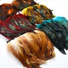 1 メートル自然なにわとりの羽トリムクラフトplumasため 13 18 センチメートル黒羽リボンdiy縫製衣類パーティーの装飾