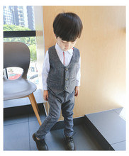 New autumn England gentlemen style Vest+long section trousers two pieces set suit for boys