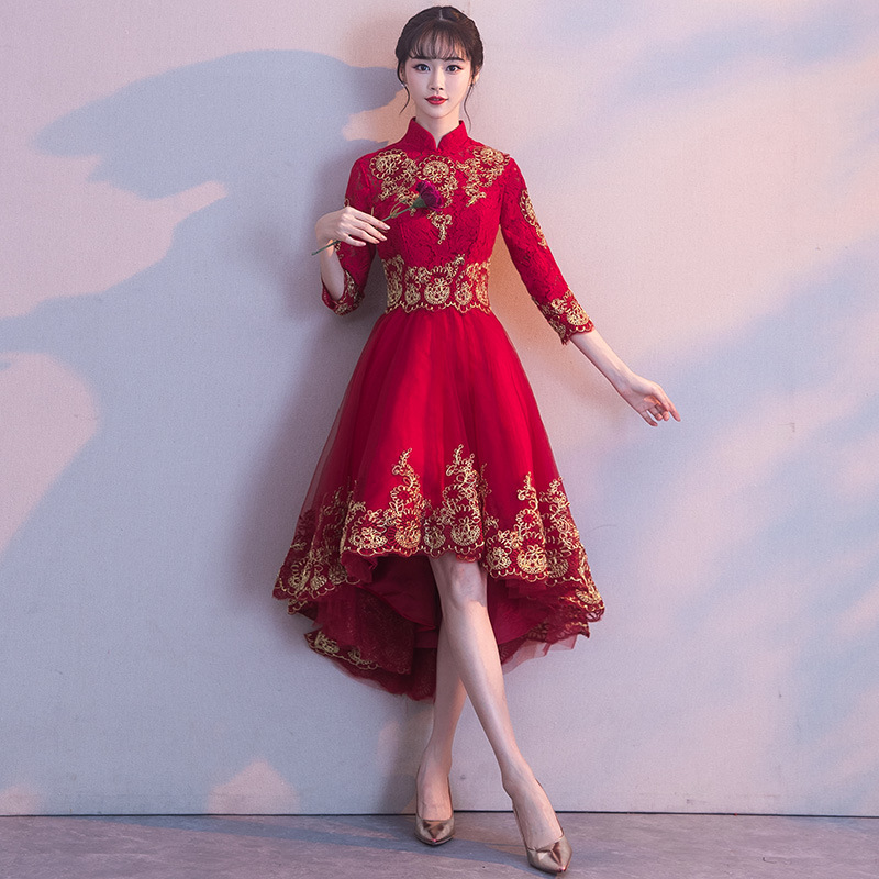 Bride Dress For Toast 2019 New Style Autumn Fashion Short Long Back Chinese Style Marriage Banquet Evening Dress Women's Long-Sl