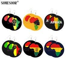 Somesoor объединенные африканские цвета карта деревянные серьги