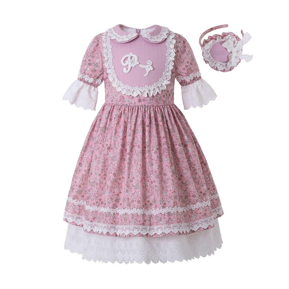 Pettigirl Wholesale Summer Flower Printed Dress Party Dress Doll Collar Raffle Sleeve Kids Boutique Dress +HeadwearDresses   -