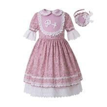 Pettigirl toptan yaz çiçek baskılı elbise parti elbise bebek yaka çekiliş kollu çocuk butik elbise + şapkalar