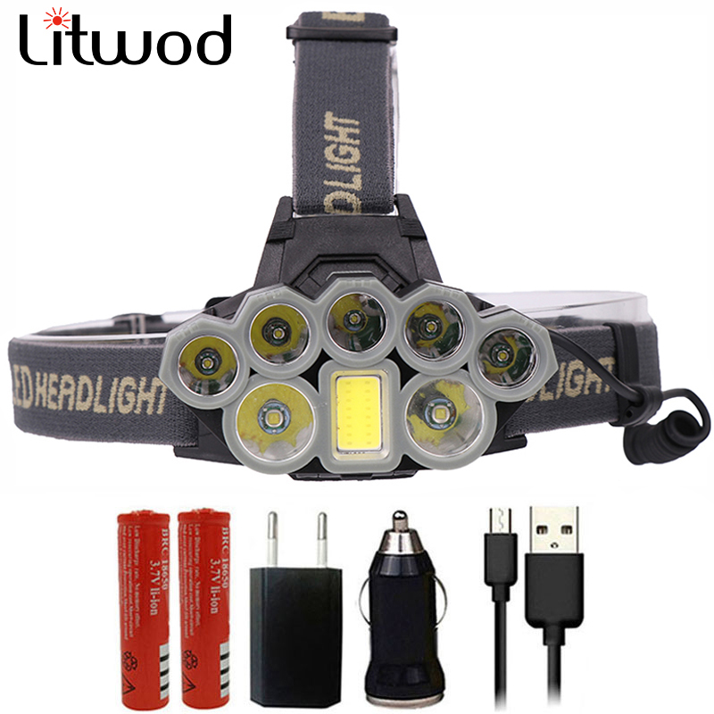 Z20 Litwod 4108 Led Headlamp Micro USB Charger Headlight 2*T6+5*XPE+COB Torch Portable Light Head Lamp Lantern For Camping
