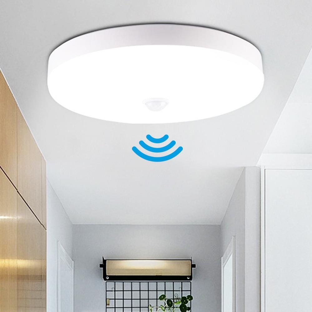 Светодиодный потолочный светильник с датчиком, круглые панели, потолочный светильник, лампы для дома, туалета, коридора в помещении/на улиц