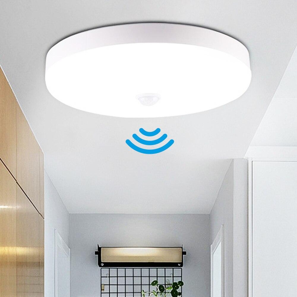 Светодиодный потолочный светильник с датчиком круглые панели потолочный светильник лампы для дома туалет коридор в помещении/на открытом