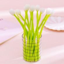 3pcs 0.38mm Plant Gel Pens Tulip Peach Gel Pens Light Soft Silicone Stationery Quick Dry School Office