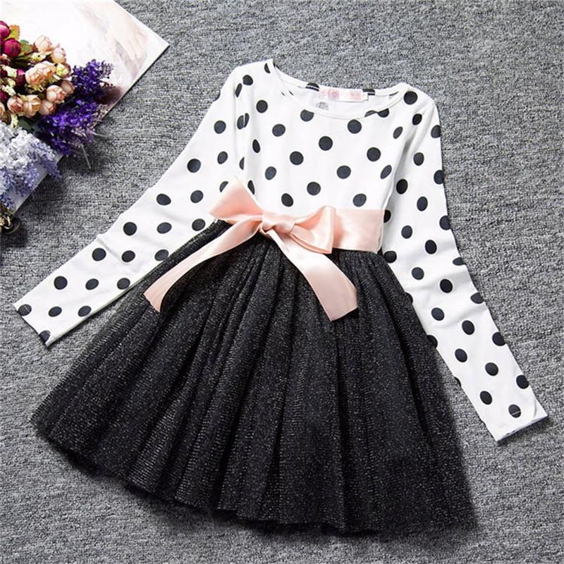 Baby Girl Long Sleeve Polka Dot Dress Girls Autumn Winter 2020 Princess Teenage Casual Wear School Kids Girls Party Tutu Dresses 4