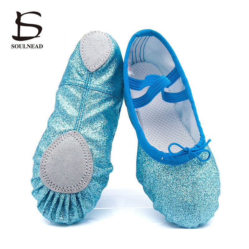 Glitter Blue Pink Ballet Shoes For Girls Soft Sole Flat Yoga Gym Slippers Children Women Jazz Ballet Dance Sneakers Size 24-44